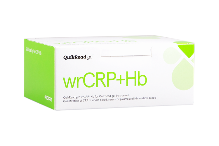 QuikRead go wrCRP Hb kit box
